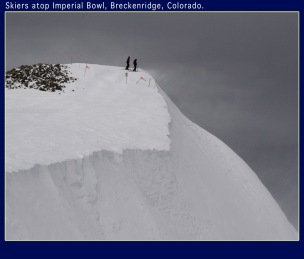 Backcountry skiers, Imperial Bowl and Lake Chutes, Breckenridge, Colorado