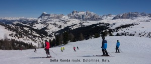 Sella Ronda route, Dolomites, Italy.